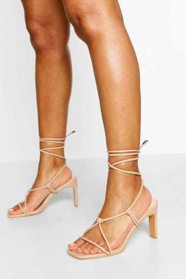 Nude Wide Fit Strappy Square Toe Sandal