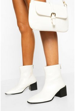 White Wide Fit Square Toe Block Heel Shoe Boot