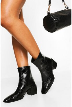 Black Wide Fit Square Toe Block Heel Shoe Boot