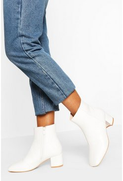 White Wide Fit Low Block Heel Shoe Boot