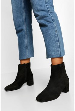 Black Wide Width Low Block Heel Shoe Boot