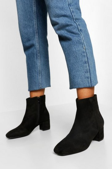 Black Wide Fit Low Block Heel Shoe Boot