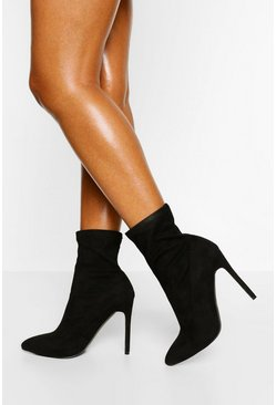 Black Wide Width Stiletto Pointed Sock Boot