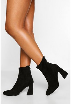 Black Wide Fit Flare Heel Sock Boot