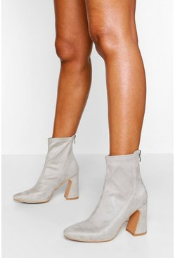 Stone Wide Fit Flare Heel Sock Boot
