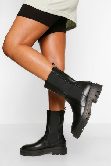 Black Calf High Chunky Sole Chelsea Boot