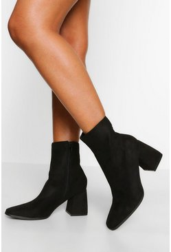 Black Block Heel Square Toe Shoe Boot
