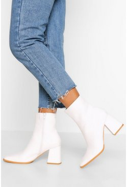 White Block Heel Square Toe Shoe Boot