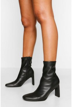 Black Low Heel Square Toe Sock Boot