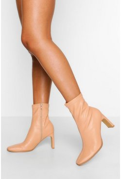 Tan brown Low Heel Square Toe Sock Boot