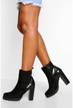 Black Block Heel Chelsea Boot