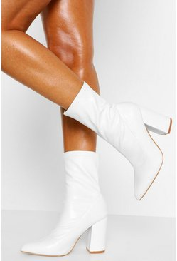 White Block Heel Pointed Sock Boot