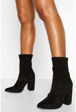 Black Block Heel Pointed Sock Boot