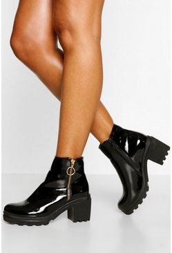 Black Zip Side Block Heel Chelsea Boot