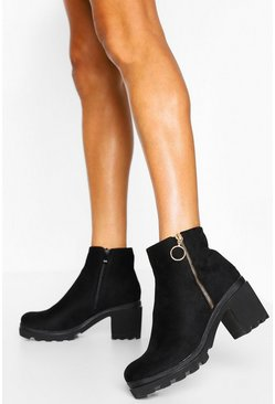 Black Zip Side Block Heel Chunky Chelsea Boot