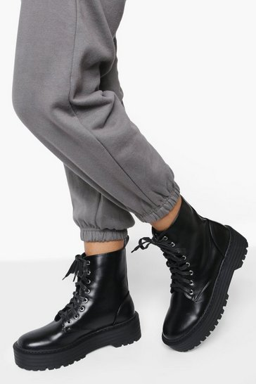 Black Lace Up Chunky Hiker Boot