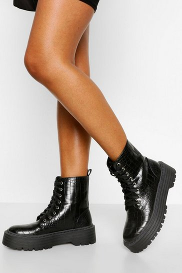 Black Croc Lace Up Chunky Hiker Boots