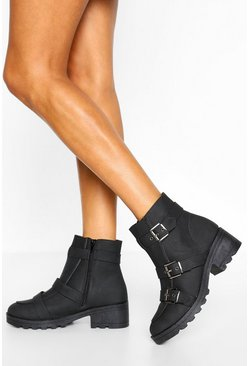Black Buckle Detail Chunky Hiker Boots