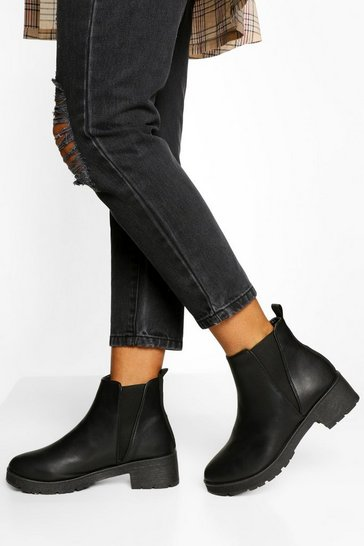 Black V Detail Chunky Chelsea Boots