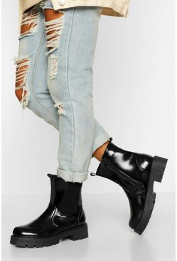Black Chunky Pull On Combat Boots