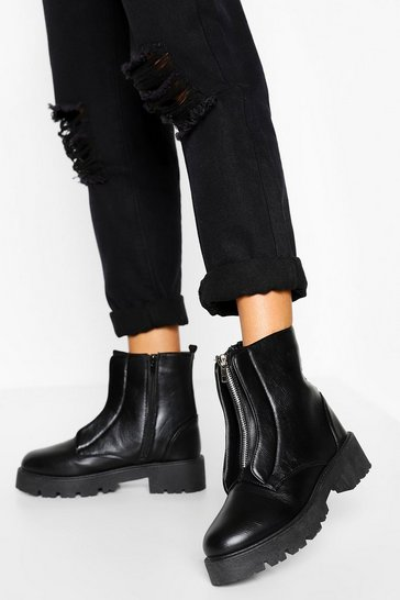 Black Zip Front Chunky Hiker Boots