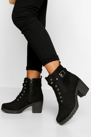 Black Wide Fit Buckle Lace Up Chunky Hiker Boots