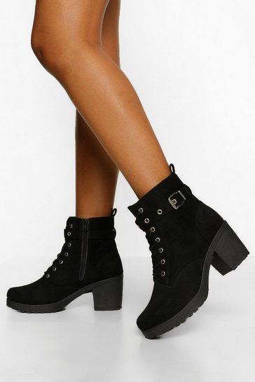 Black Buckle Lace Up Chunky Hiker Boots