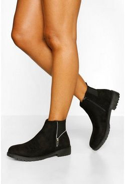 Black Wide Fit Zip Side Detail Chelsea Boots