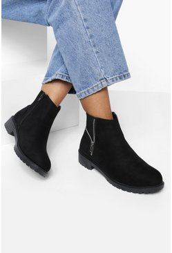 Black Zip Side Detail Chelsea Boots