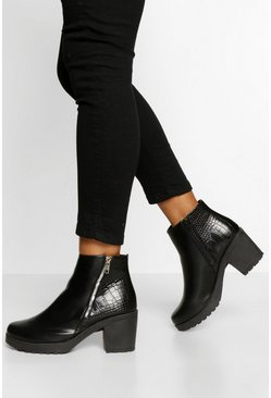 Black Zip Detail Chunky Chelsea Boots