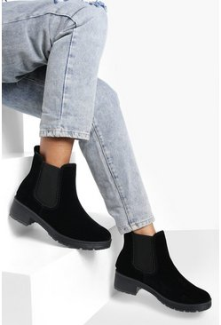 Black Ribbed Detail Chunky Chelsea Boots
