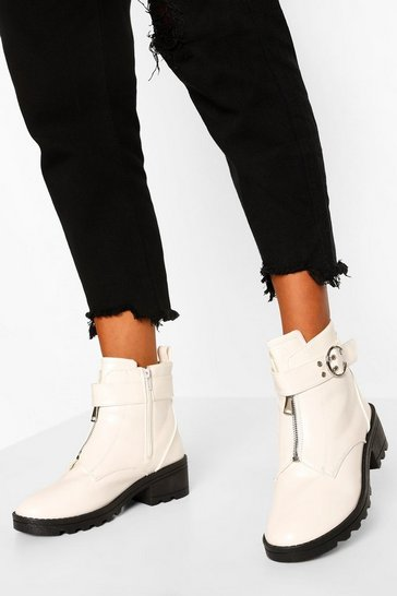White Buckle Detail Chunky Chelsea Boots