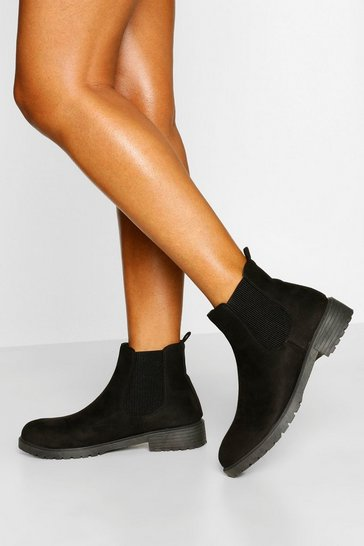 Black Pull On Chelsea Boots