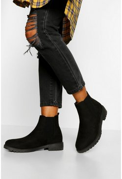Black Wide Fit Pull On Chelsea Boots
