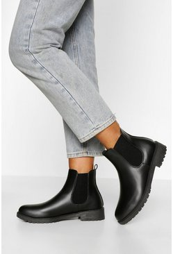 Black Pull On PU Chelsea Boots