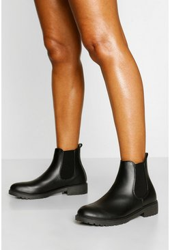 Black Wide Fit Pull On PU Chelsea Boots