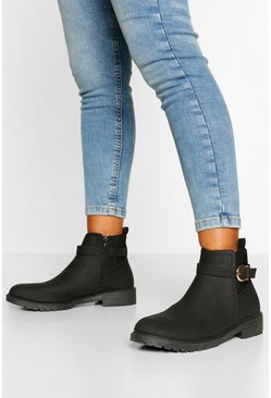 Black Wide Fit Buckle Detail Chelsea Boots
