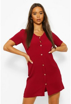Berry Woven Button Through Shift Dress