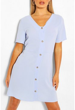 Blue Woven Button Through Shift Dress