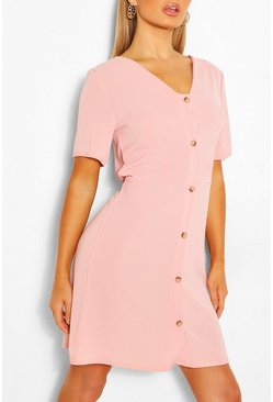 Blush pink Woven Button Through Shift Dress