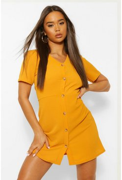 Mustard yellow Woven Button Through Shift Dress