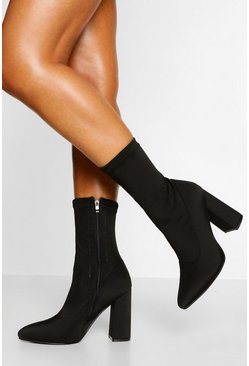Black Wide Fit Pointed Block Heel Sock Boot