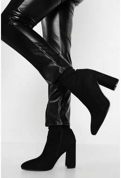 Black Wide Fit Suedette Pointed Block Heel Sock Boot