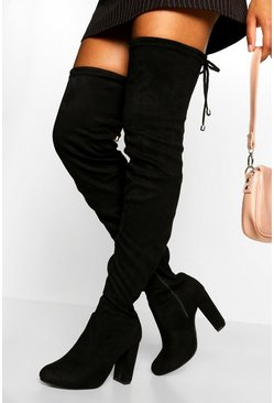 Black Wide Fit Block Heel Thigh High Boot
