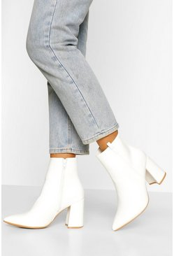 White Wide Width Pointed Block Heel Shoe Boot