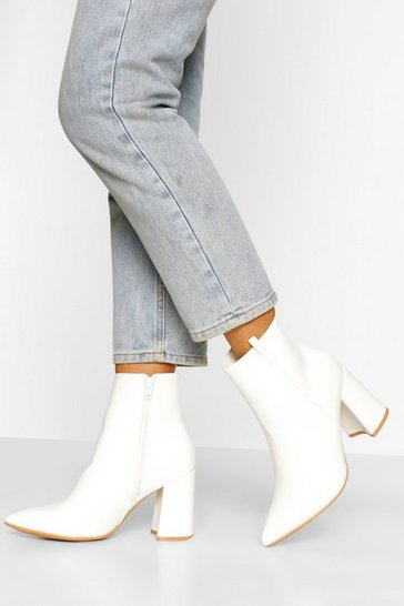 White Wide Fit Pointed Block Heel Shoe Boot