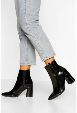 Black Wide Fit Pointed Block Heel Shoe Boot