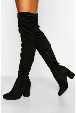 Black Wide Fit Stretch Block Heel Over The Knee Boot