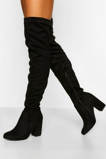 Black Wide Fit Strech Block Heel Over The Knee Boot