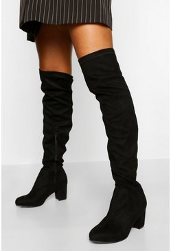 Black Wide Fit Low Block Heel Over The Knee Boot